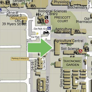 Map indicating the location of CLIMA Agriculture Central Wing, Hackett entrance number 3, Crawley campus